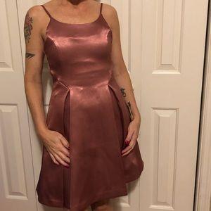 Glamorous Dusty Pink Satin Skater Dress Small
